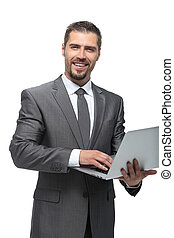 happy businessman with a laptop.