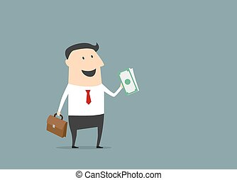 Happy businessman with briefcase and money