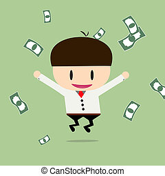 Happy businessman with cheques on a large sum. Profit, bonus, income. Vector, illustration, flat