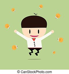 Happy businessman with cheques on a rich Ideas. Vector, illustration, flat