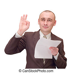 Happy businessman with document