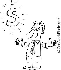 happy businessman with dollar sign cartoon