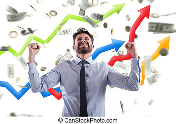 Happy businessman with growth exponential gain statistics - ...