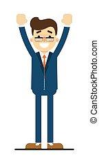 Happy businessman with hands up gesture