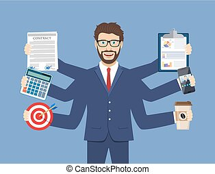 Happy businessman with many hands