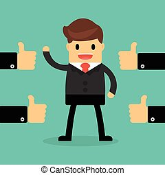 Happy Businessman with many hands thumbs up. feedback concept.
