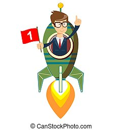 Happy businessman with number one flag on a rocket ship launching to starry sky.