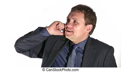 happy businessman with phone