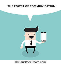 Happy businessman with smart phone The power of...