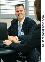 Happy Businessman Working Outdoor