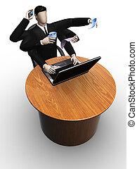 Happy businessman works