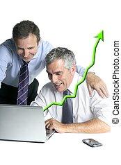 happy businessmen computer good reports chart