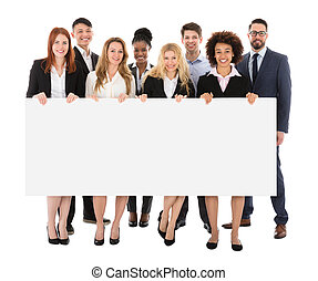 Happy Businesspeople Holding Billboard