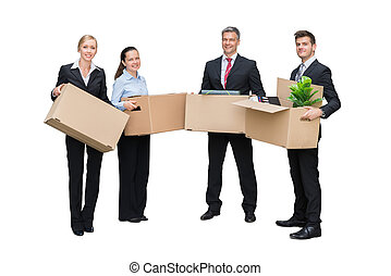 Happy Businesspeople Holding Cardboard Box With Their Belongings