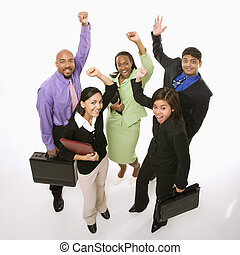 Happy businesspeople. - Portrait of multi-ethnic business...