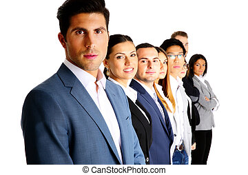 Happy businesspeople standing in a row over white background