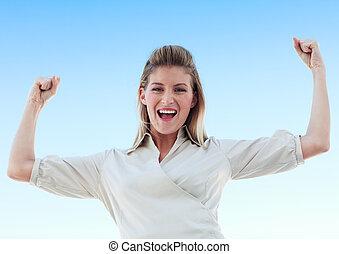 Happy Businesswoman against blue sky