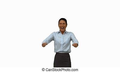Happy businesswoman gesturing on wh