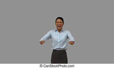 Happy businesswoman gesturing