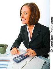Happy Businesswoman Holding Calculator