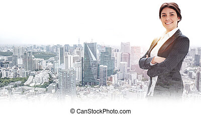 happy businesswoman in a cityscape background