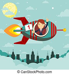 Happy businesswoman in a rocket ship launching to starry sky. Start up business concept.