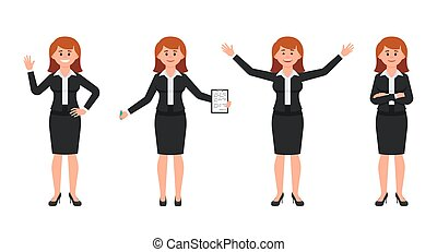 Happy businesswoman in black suit cartoon character