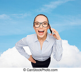 happy businesswoman in eyeglasses with smartphone - business...
