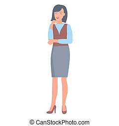 Happy Businesswoman in Formal Clothes Illustration