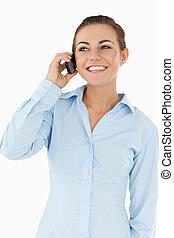 Happy businesswoman on the phone
