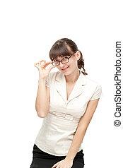 Happy businesswoman posing isolated