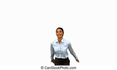 Happy businesswoman raising arms on white screen in slow...
