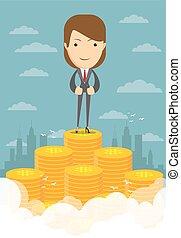 Happy businesswoman raising from pile of money