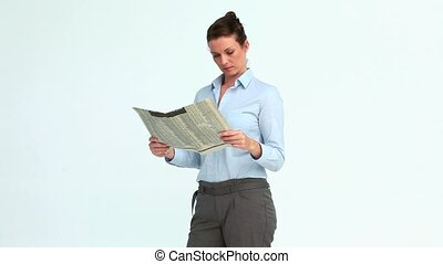 Happy businesswoman reads the news and crosses the arms