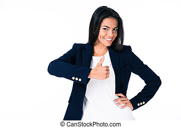 Happy businesswoman showing thumb up