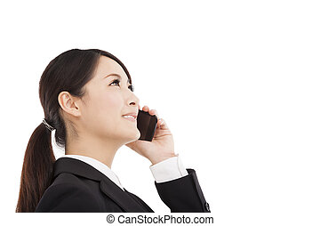 happy businesswoman talking on cellphone