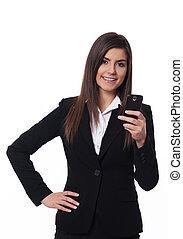 Happy businesswoman using smart phone