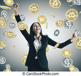 Lottery and cryptocurrency concept