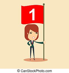 Happy businesswoman with number one flag. vector illustration.