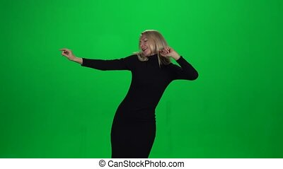 Happy businesswoman with silly dancing move - Seductive...