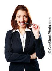 Happy businesswoman woman bites pen isolated on white...