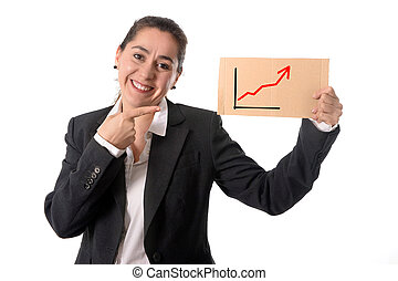 happy busy business woman holding growth sales graph