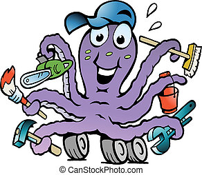 Happy Busy Octopus Handyman - Hand-drawn Vector illustration...