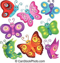 Happy butterflies theme set 1