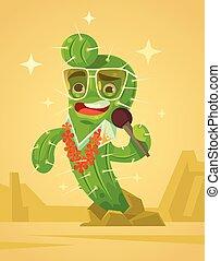 Happy cactus character sing song. Vector flat cartoon illustration