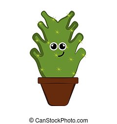Happy cactus in a flower pot