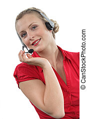 Happy call-center worker