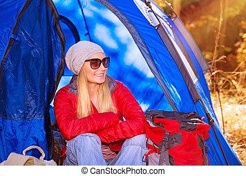 Happy camper girl