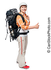 happy camper traveling with a large backpack, portrait isolated