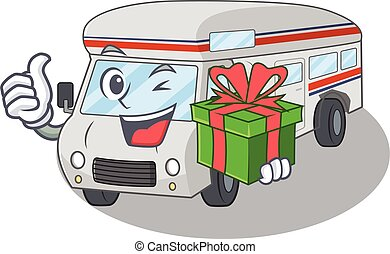 Happy campervan character having a gift box